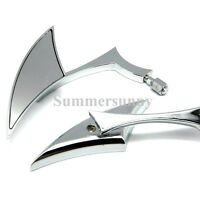 Motorcycle Chrome Blade Rearview Mirrors For Harley Cruiser Bobber Chopper Honda