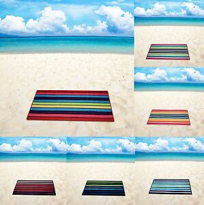 Large Velour Beach Bath Towels Cotton Striped Towels 75x150cm Soft and Bright