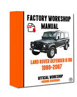 >> OFFICIAL WORKSHOP Manual Repair  Land Rover Defender 110 II 1998 - 2007