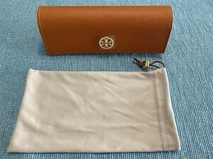 Tory Burch Saffiano Orange Eyeglasses Glasses Case Gold Logo & Microfiber Pouch