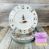 Gibson COASTLINE LIGHTHOUSE Nautical Beach Stoneware Round Dinner Plates Set 4