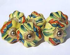 céramique commode placard poignées boutons fleur jaune Rainbow (cuivre) x 6