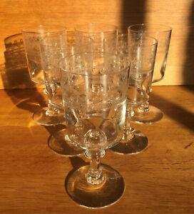 """Vierzon - 6 verres à eau forme """"Mirabeau"""" gravés par guillochage"""