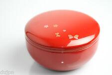 BENTO rond Bol Lunch box  Japonaise rouge papillon doré façon laqué 4 compartime