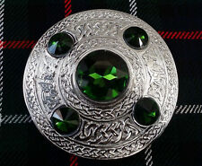 "HS Scottish Kilt Fly Plaid Brooch Green 5 Stone 4"" Celtic Ladies Brooches Chrome"
