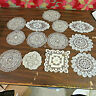 THIRTEEN VINTAGE LACE CROCHET DOILIES OFF WHITE ASSORTED PATTERNS