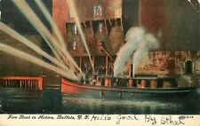 Brooklyn NY Steamer Fire-Boat in Action 1908 Postcard