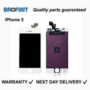 iPhone 5 LCD Touch Screen White Digitzer Replacement Glass Assembly Full