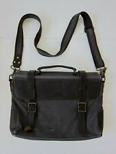 Vaschy Grey Canvas Brown Leather Satchel Messenger Shoulder Briefcase Bag