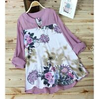 Solid V Neck Blouse Floral Loose Casual O Neck Jumper Tops T-Shirt Fashion