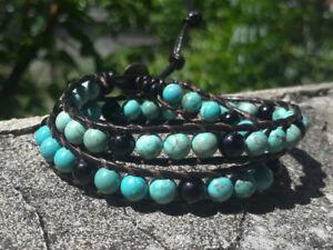 2 Wrap Bracelets,Turquoise bracelets,onyx bracelets,leather bracelets,mens