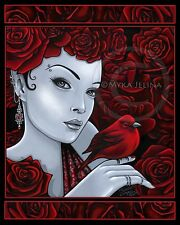 Gothic Red Bird Roses Fairy Scarlet Fantasy Art Ltd Ed Signed CANVAS Embellished