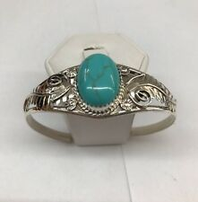Native American Navajo Indian Hand Made Sterling Silver Turquoise Cuff Bracelets