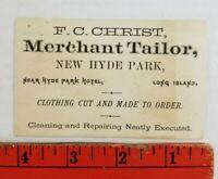 Vintage 1900's Merchant Tailor Hyde Park Long Island New York Business Card