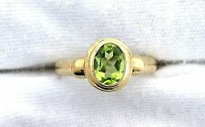 10Kt REAL Yellow Gold Oval 9x7 Peridot Gemstone Gem Ladies Fashion Ring ES99R76