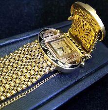 Hamilton Vintage 14k Yellow Gold Bracelet Hidden Watch Belt Buckle Jewelry 64.6