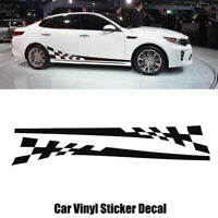 2x Car Body Side Graphics Flag Style Racing Stripes Vinyl Decals Stickers Decor