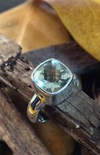 Sterling Silver 925 Handcrafted Green Amethyst Cushion Checkerboard Ring Size 6