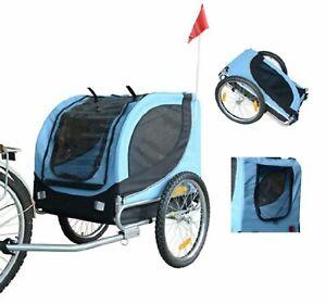 Dog Bike Trailer Pushchair Secure Carrier Jogging Kit Pet Bicycle Ride Fun Blue