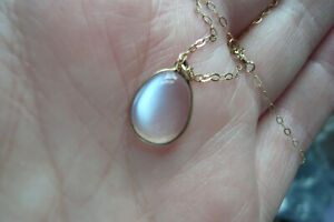 Art Deco Style Moonstone and Gold Pendant with 9 Carat Gold Chain