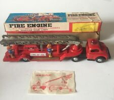 VINTAGE KOKYU (JAPAN) LARGE TINPLATE  FIRE ENGINE ~ AUTO LADDERS  ~ ORIGINAL BOX