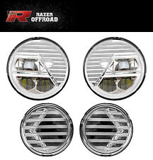 Extrame Skull CHROME LED Headlight+LED Turn Signal+DRL for 07-17 Jeep Wrangler