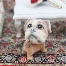 Dog Puppy Bulldog Doll Bobble Head Tail Dollhouse Miniature One Inch Scale 1:12