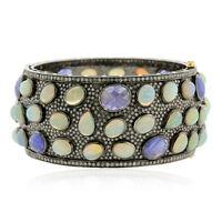 Natural Diamond Pave 18k Gold Tanzanite Opal Bangle Bracelet 925 Sterling Silver