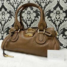Rise-on Chloe Paddington Drak Brown Leather Handbag Shoulder Bag #17 t