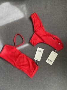 Frankie's Bikini Red Swimsuit Small Top Bottom Set