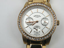 Ladies Rotary LB00146/06 Rose Gold Crystal Dress Watch