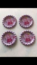 PEPPA PIG BOTTLE TOP CAP FLAT BACK METAL X 4 Craft HAIR BOW UK SELLER