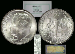 1950-D Roosevelt Dime graded MS66 by NGC ...... Old No-line Fatty Holder!