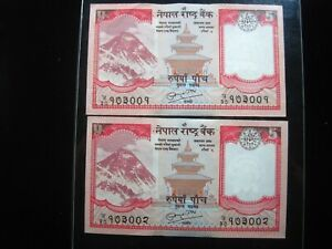 NEPAL 5 RUPEES 2012 Consecutive Pair Yak Mount Everest Lot CU 72# Money Banknote