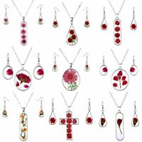Fashion Natural Real Dried Flower Resin Earrings Necklace Pendant Jewelry Set