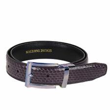 Men's Purple Snake Skin Leather Belt With Stylish Silver Buckle