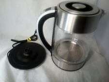 Electric Tea Kettle Stainless Steel Glass w/ LED Indicator Light 1.7L