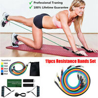 11 PIECE TUBES RESISTANCE BANDS SET YOGA CROSSFIT WORKOUT FITNESS EXERCISE SPORT