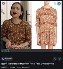 Etoile Isabel Marant Maiwenn Orchre Floral-Print Tiered Mini Dress - Size M