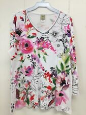 Jess and Jane Evening Sonnet White Pink Floral Flower Multi-Color Shirt Size New