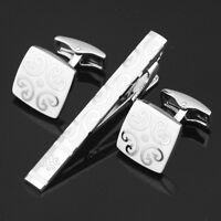 Z-009 Stainless Steel Men's Cufflinks + Tie Clasp Clip Bar Set Gift box FREE S&H