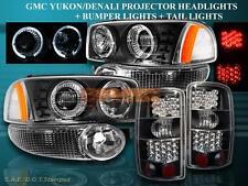 2000-2006 YUKON DENALI XL HALO PROJECTOR HEADLIGHTS BLK+LED TAIL LIGHTS+BUMPER
