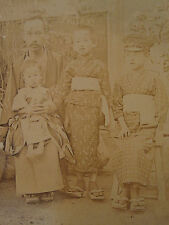 ANTIQUE IMPERIAL JAPAN CDV 1860/70'S FATHER WIDOW SONS UNUSUAL HAT SHOES PHOTO