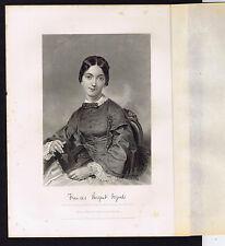 Poet Frances Sargent Osgood - Portrait - 1873 Steel Engraving