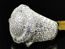 New Mens White Gold Round Diamond 3D Ice Out XL Pinky Band Ring 4.12 Ct
