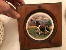 "Vintage English Springer Spaniel Plate in Wood Frame 7"" square, Plate 4 1/2"" Dm"
