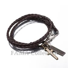 Quality FAMA Dark Brown Braided Leather Wrap Bracelet with Cross Dangle