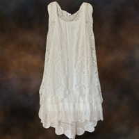 Plus Size Vintage Boho Festival Sleeveless Crochet Kimono Duster Cardigan White