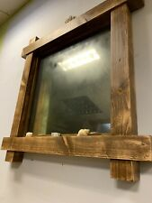 Handmade Rustic Mirror (matte Old Effect) Reclaimed Wood 2,5 Inch Thick Timber