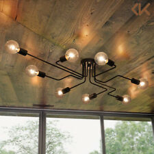 8-Light Industrial Ceiling Light Steampunk Semi Flush Mount Chandelier Fixture